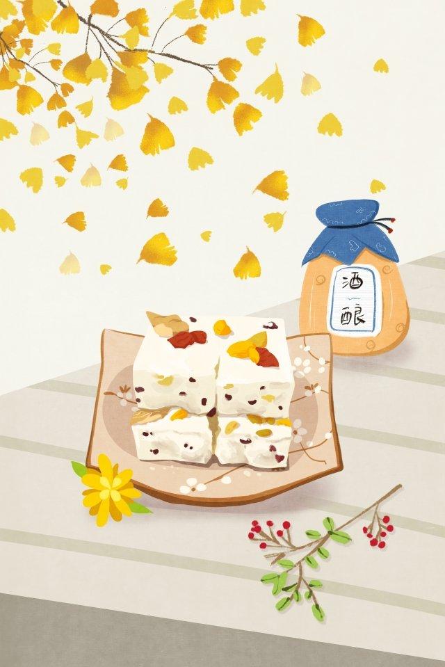 डबल नौवां त्योहार चॉन्गियांग पेस्ट्री लिकर चित्रण छवि चित्रण छवि