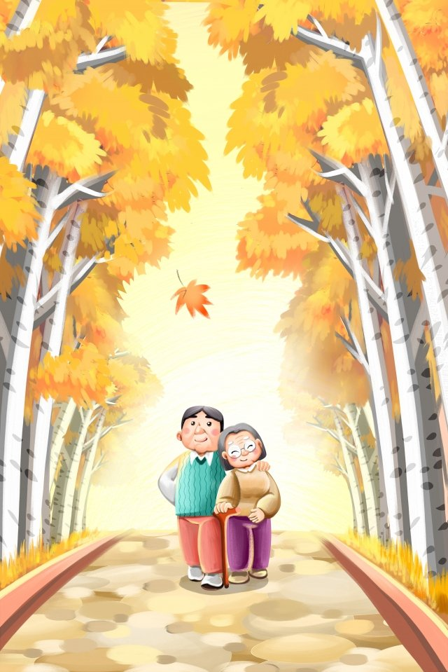 double ninth festival chongyang respecting the old old man, Autumn, Chongyang, Accompanying The Elderly illustration image