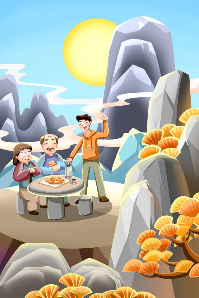 老人を尊重する二重第九祭りchongyang イラスト素材 イラスト画像