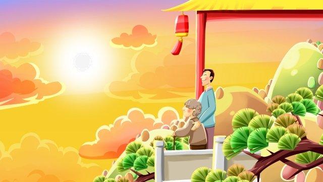 老人を尊重する二重第九祭りchongyang イラストレーション画像