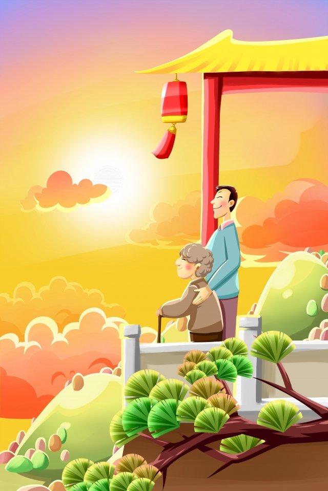 老人を尊重する二重第九祭りchongyang イラスト画像