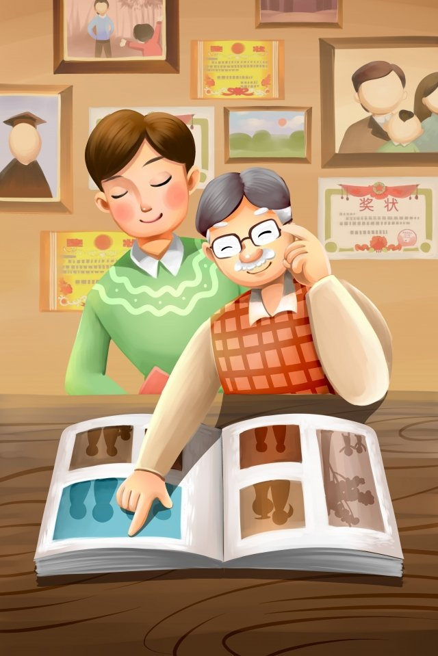 늙은 노인을 존중하는 두 번째 아홉 번째 축제 chongyang 삽화 소재 삽화 이미지