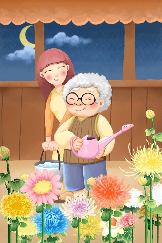 double ninth festival chongyang respecting the old old man, Chrysanthemum, Watering Festival, Elderly illustration image