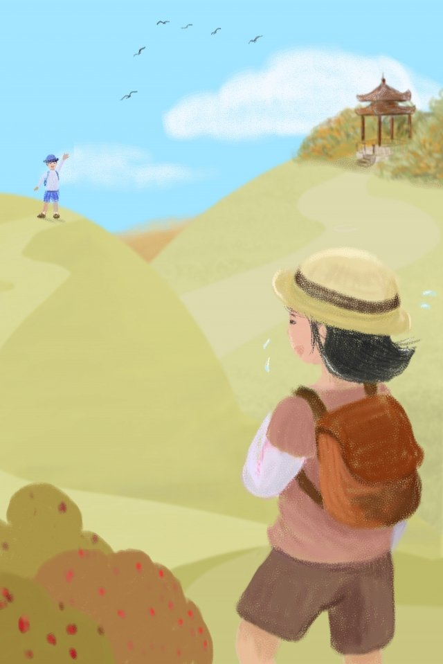 double ninth festival mountaineering mountain climbing ascend, Looking Far, Girl, Friend illustration image