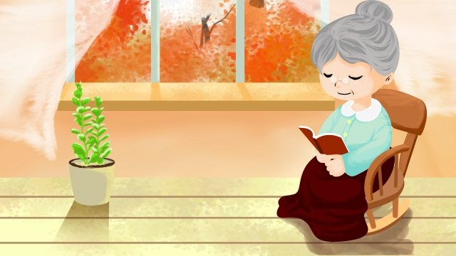 9月9日の老人に対する二重九祭の敬意 イラストレーション画像