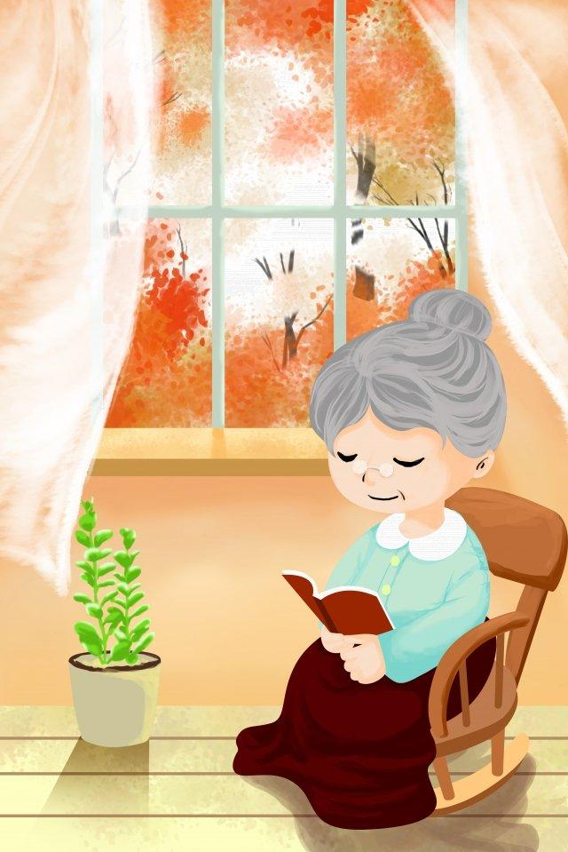 노인 9 월 9 일 노인에 대한 더블 아홉 번째 축제 존경 삽화 소재