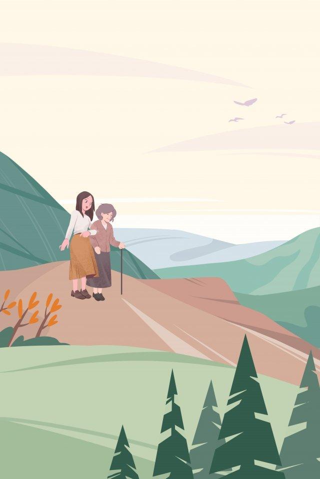 오래된 오름차순 경치를 존중하는 두 번째 아홉 번째 축제 삽화 이미지
