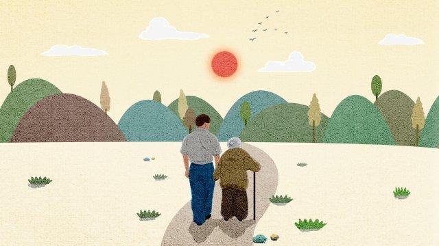 一緒に古い崇陽を尊重する二重九祭 イラストレーション画像