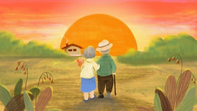 बूढ़े बुजुर्ग माता पिता का सम्मान करते हुए नौवां त्योहार चित्रण छवि