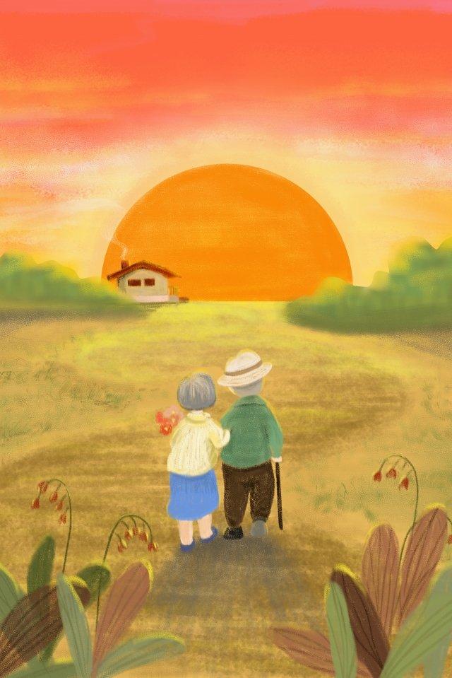 늙은 노인을 존중하는 두 번째 아홉 번째 축제 삽화 이미지