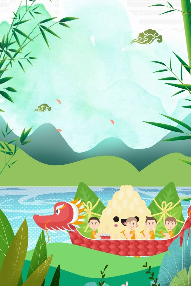 dragon boat festival dragon boat cartoon far mountain, Poster, Loquat Leaves, Eating Hazelnuts illustration image