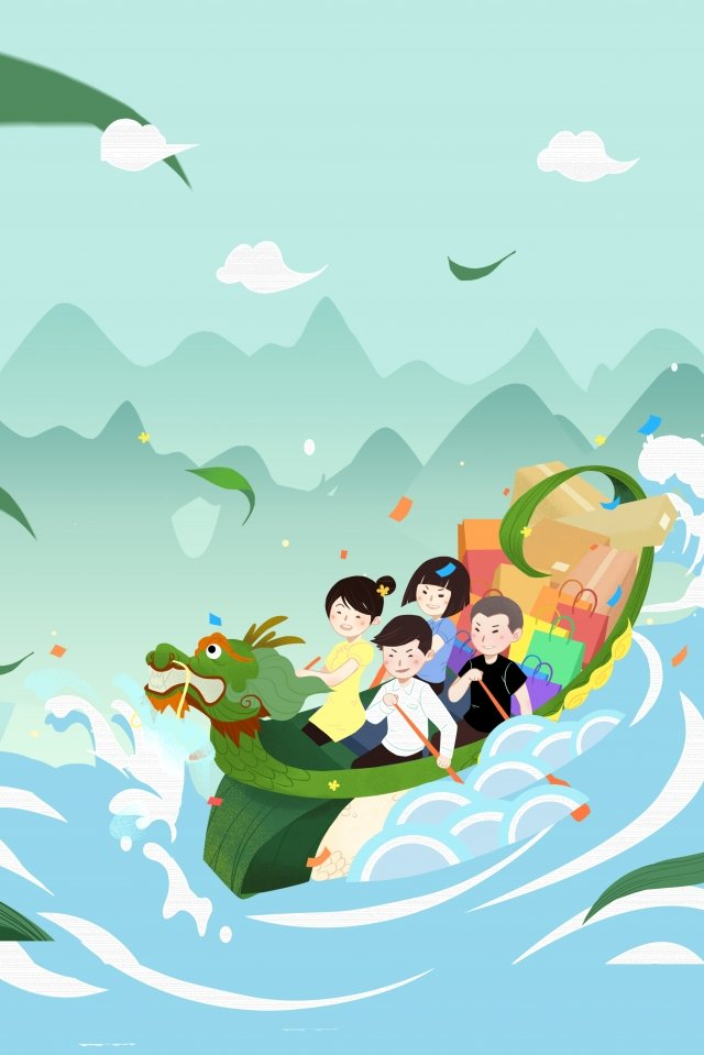 dragon boat festival dragon boat dragon boat character, Boat Paddle, Far Mountain, Hu Bo illustration image