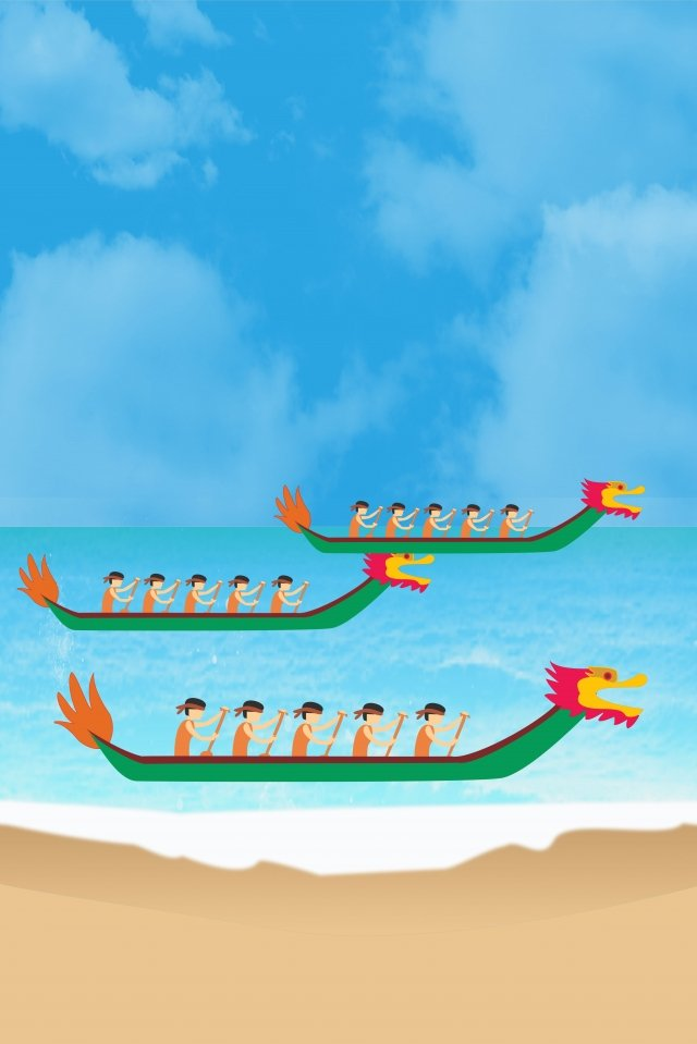 dragon boat festival dragon boat race white clouds blue sky, Wave, Beach, Game illustration image