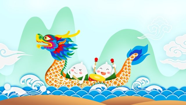 dragon boat festival dragon boat zongzi blue, Green, Traditional, Little illustration image