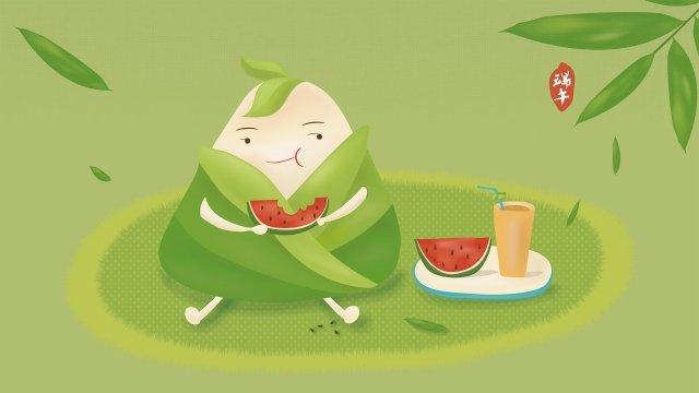 スイカ漫画ヘーゼルナッツを食べるドラゴンボートフェスティバルq版のサイコロドラゴンボートフェスティバルイラスト イラスト素材