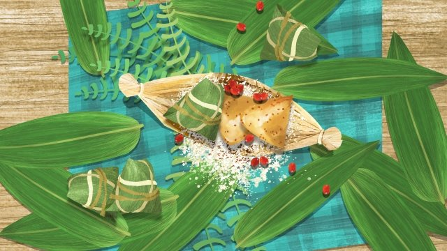 dragon boat festival festival zongzi loquat leaves, Rice, Red Beans, Tablecloth illustration image