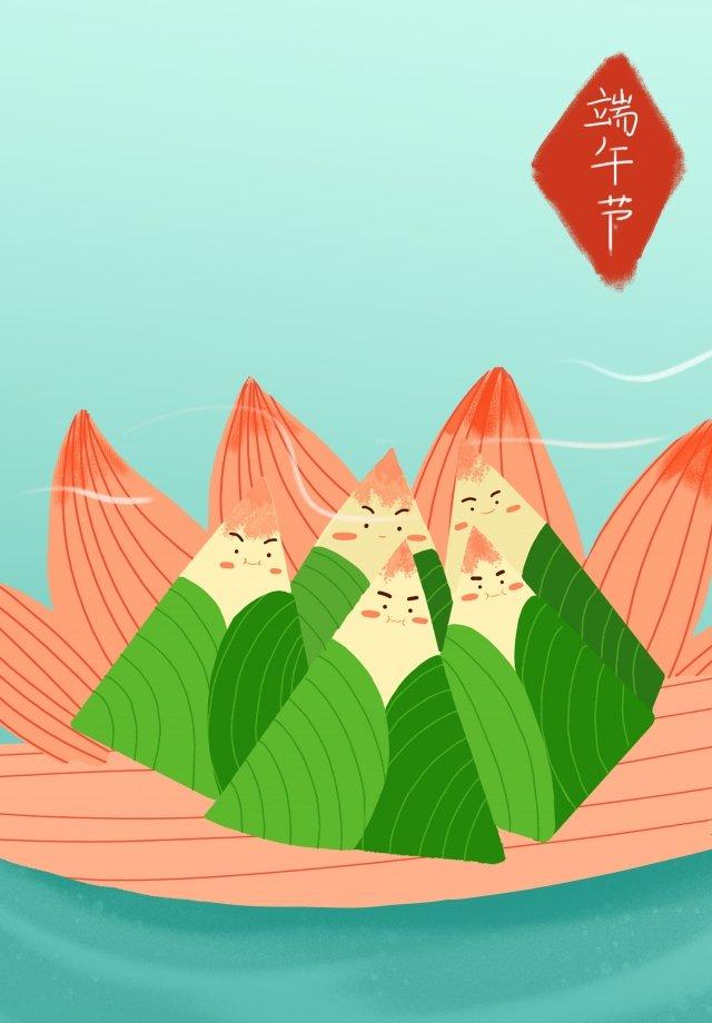 ドラゴンボートフェスティバル新鮮な手描きイラストzongzi イラスト素材