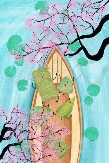 龍舟節粽子卡通荷花池 插畫素材