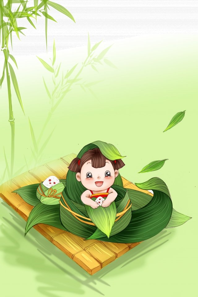 festival zongzi child green, Hand Painted, Bamboo Forest, Boat illustration image