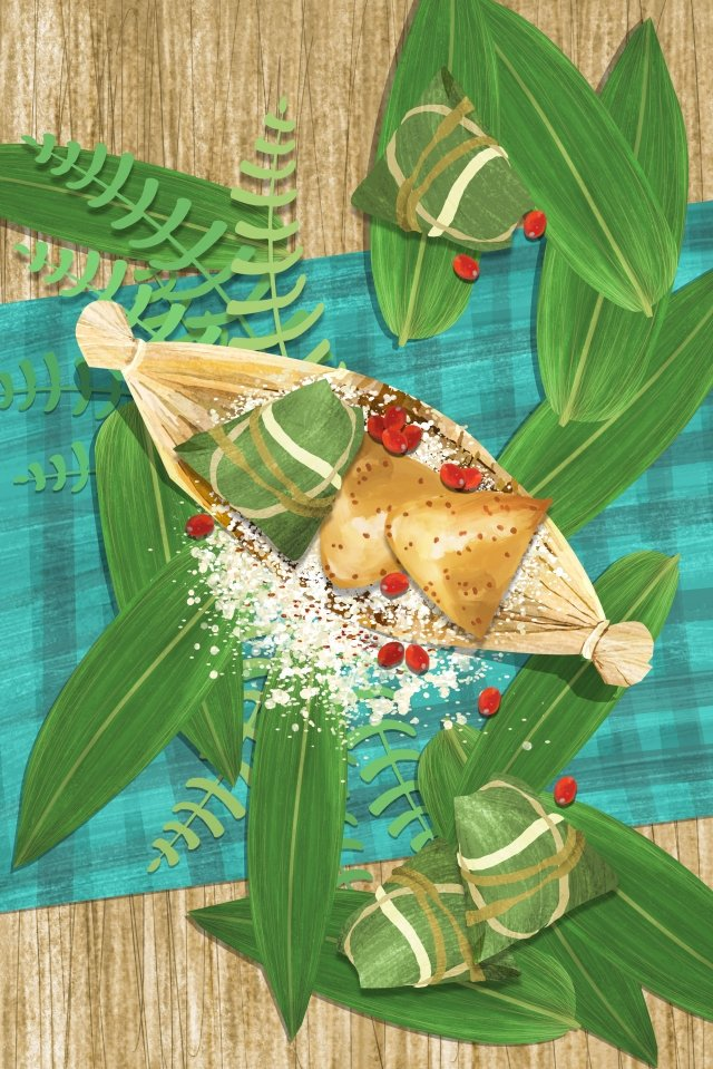 dragon boat festival zongzi desktop tablecloth, Loquat Leaves, Meter, Jujube illustration image
