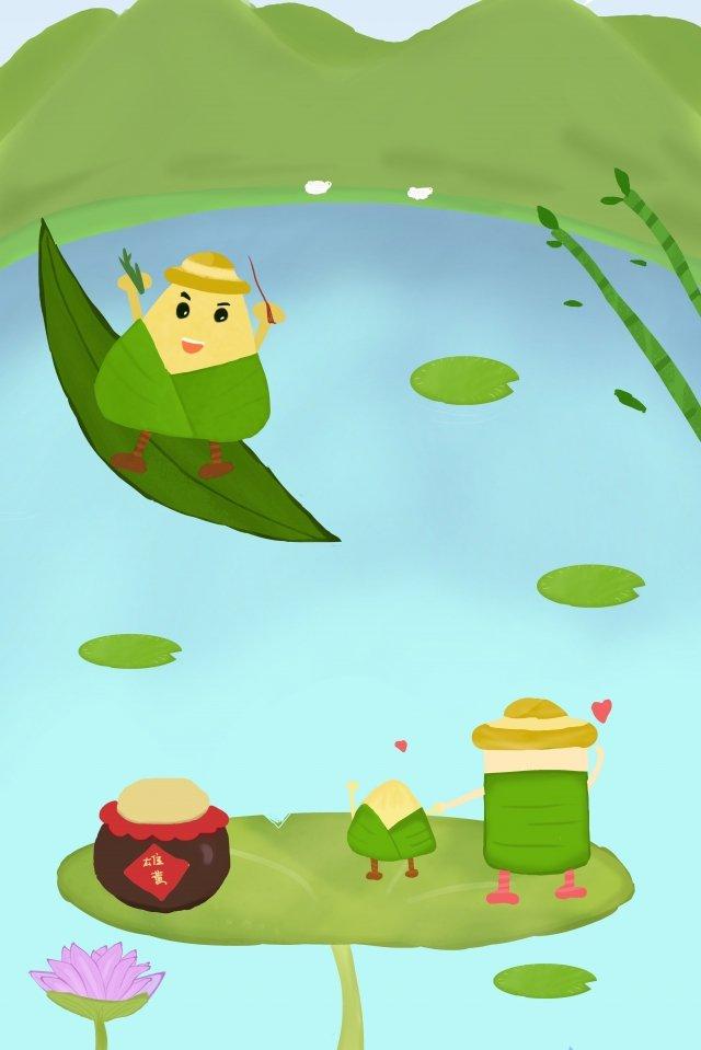 龍舟節粽子家人聚在一起 插畫素材