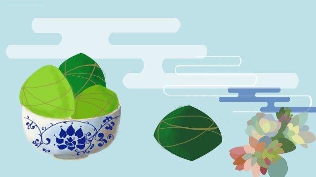 龍舟節粽子綠色插圖 插畫素材