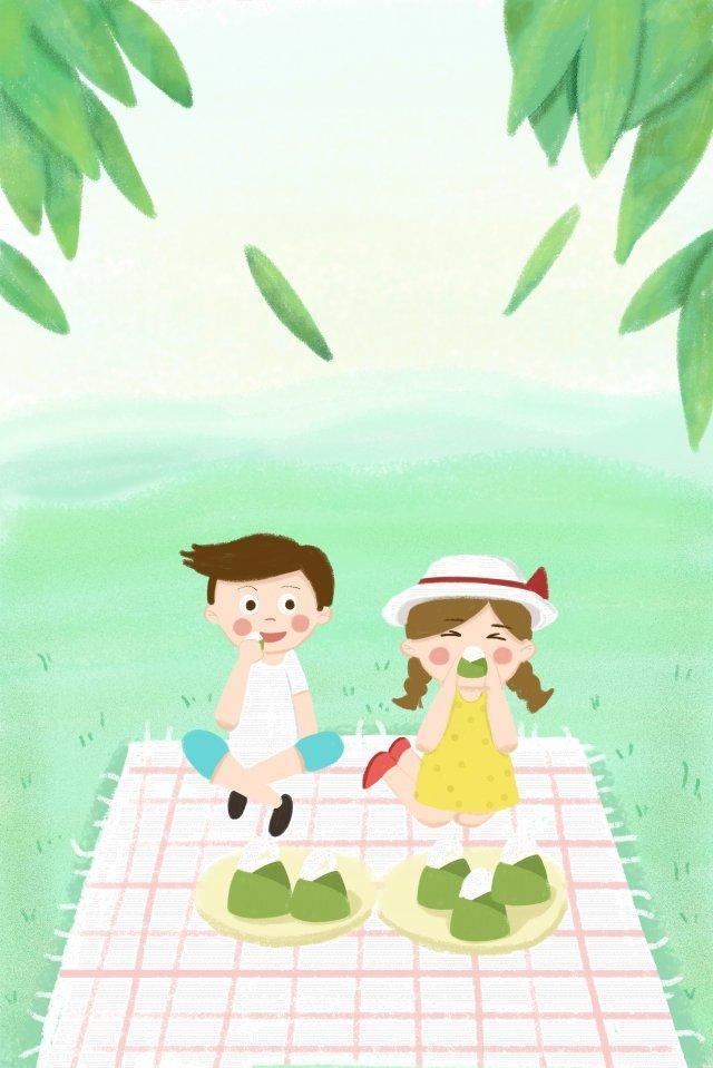 龍舟節粽子枇杷葉野餐 插畫素材