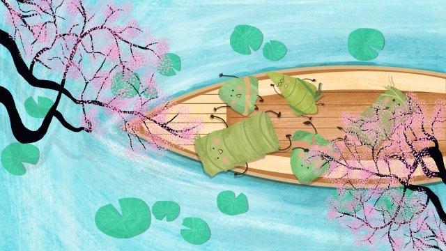 ドラゴンボートフェスティバルzongzi旅行蓮池 イラスト素材