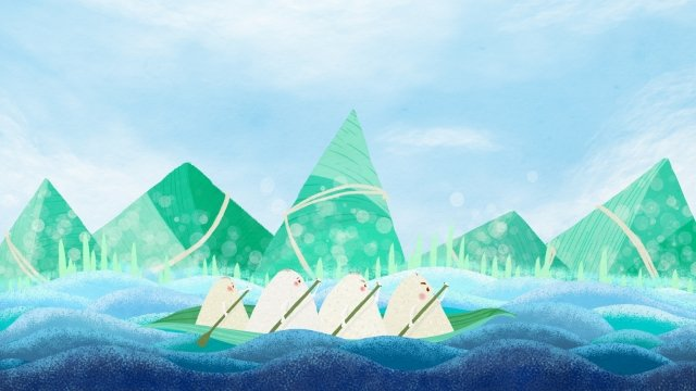 dragon boat zongzi dragon boat chinese festival traditional festival, Hand Painted, Dragon Boat Festival, Water Wave illustration image