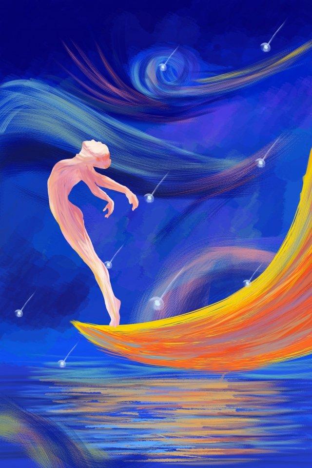꿈 아름다운 소녀 댄스 삽화 소재