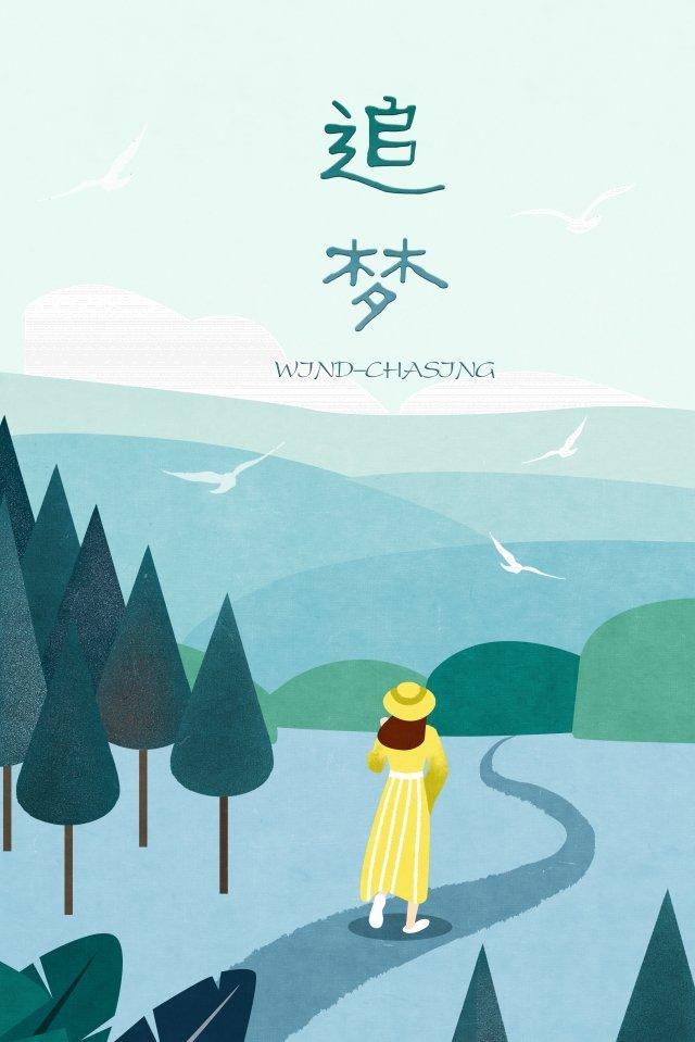 夢想捕捉女孩距離飛翔的鳥兒 插畫素材