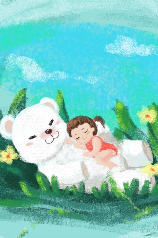 夢の幼年期の洞窟のクマ イラストレーション画像