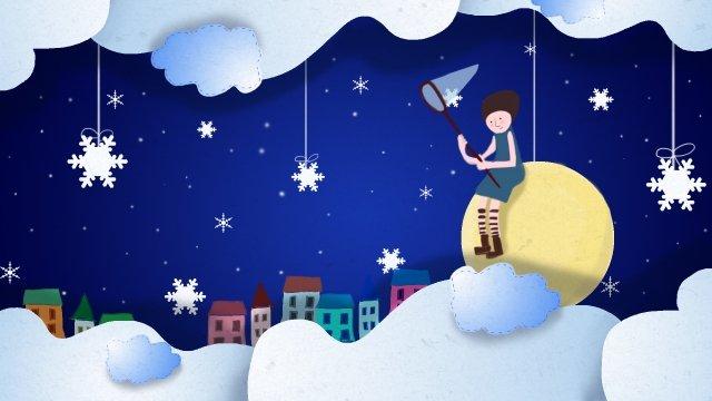 dream dark night snowflake girl llustration image illustration image