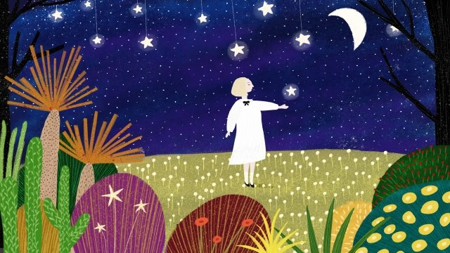 dream fairy tale forest starry sky, Star, Scene, Illustration illustration image