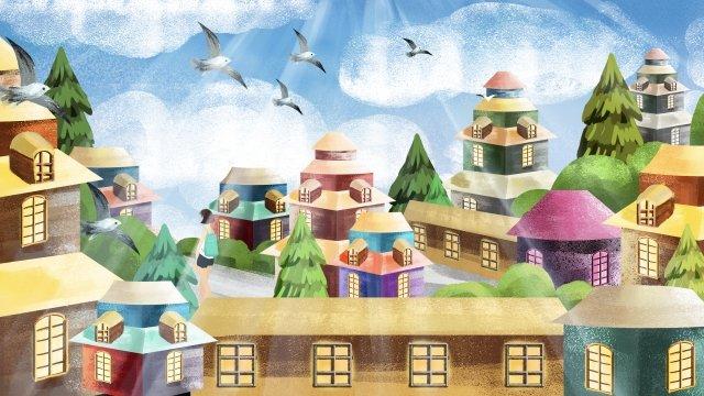夢の少女住宅建物 イラスト素材