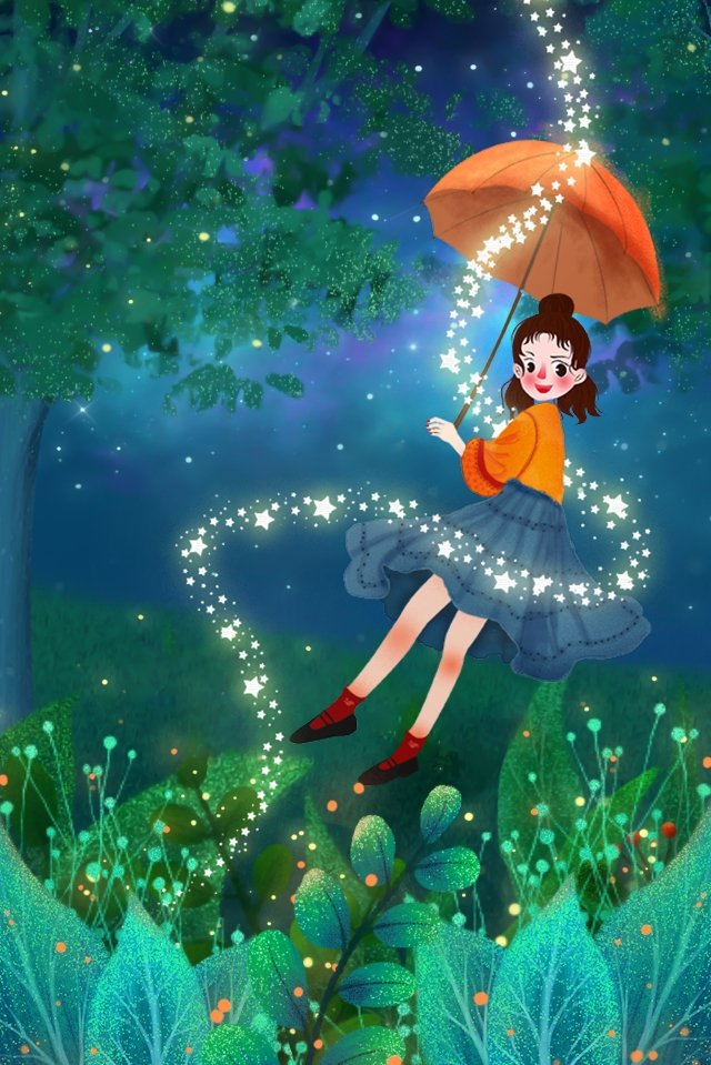 sonho mão pintada noite de verão menina Material de ilustração