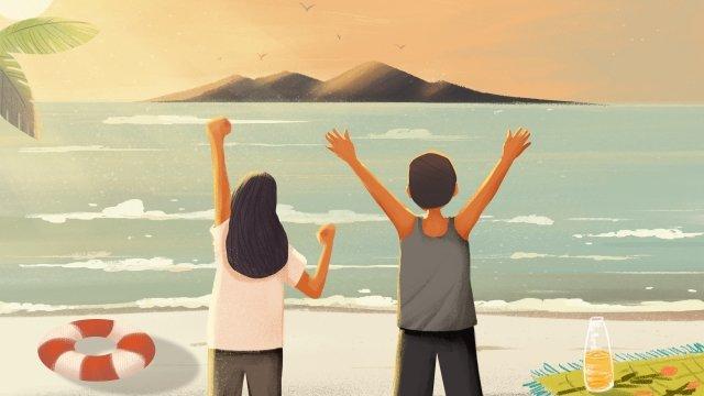 꿈의 영감을주는 바다 일몰 삽화 소재