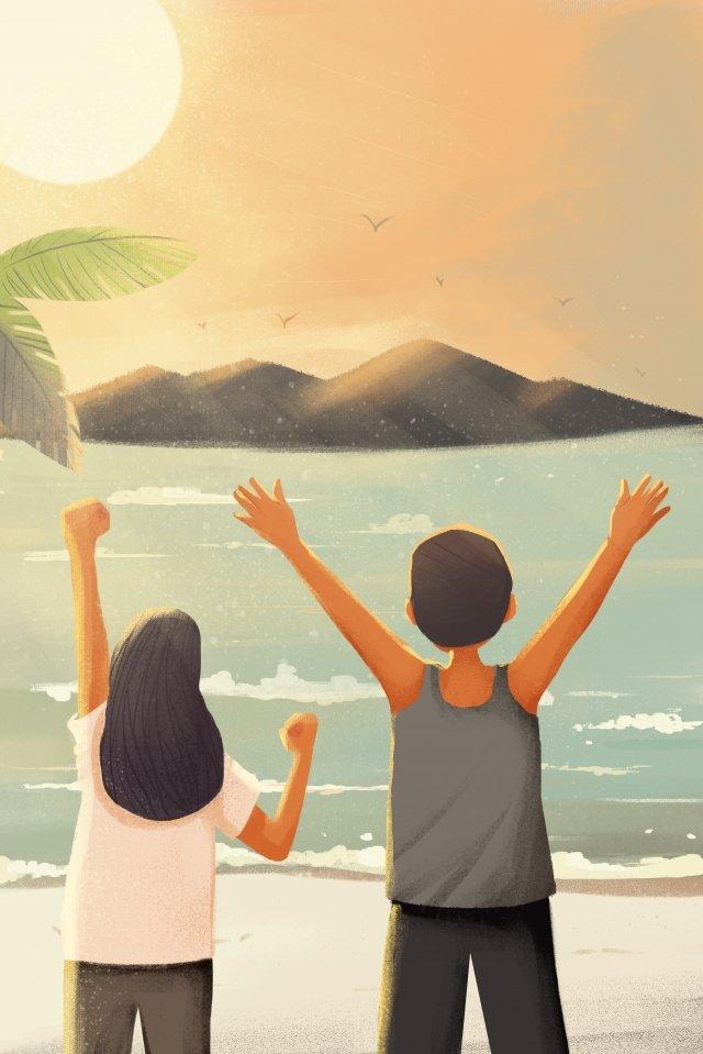 giấc mơ biển hoàng hôn đầy cảm hứng Hình minh họa Hình minh họa
