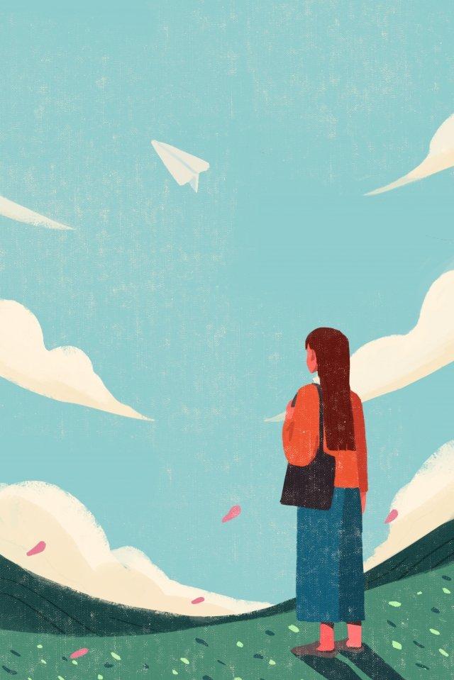 夢想瞭望紙飛機女孩 插畫圖片