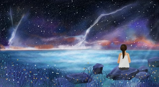 dream romantic starry sky moonlight, Night View, Fantasy Background, Stone illustration image