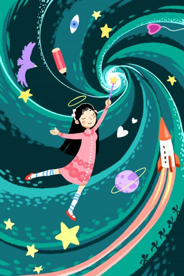 dream science fiction technological sense dreamland, Future, Girl, Concept illustration image