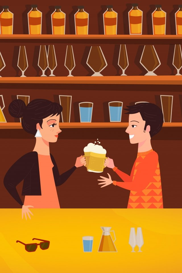 drink celebrate bar urban life illustration image
