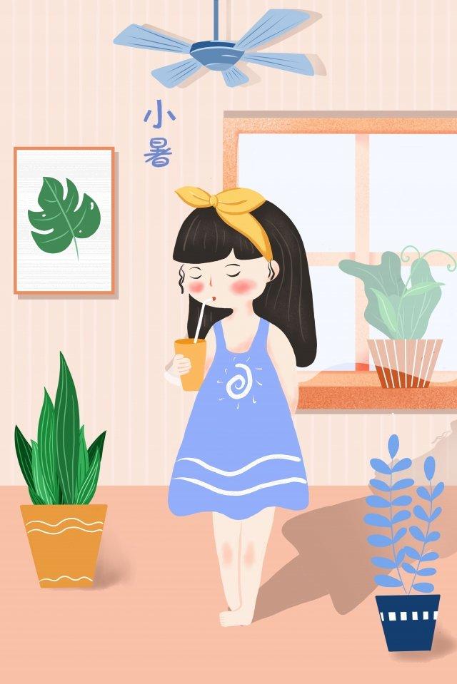飲み物鉢植えの植物の窓を飲む少女を飲む イラストレーション画像