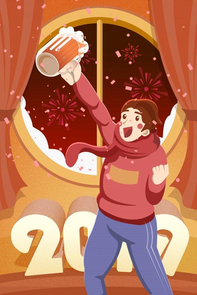 돼지의 2019 년 새해 축하 토스트 삽화 소재 삽화 이미지