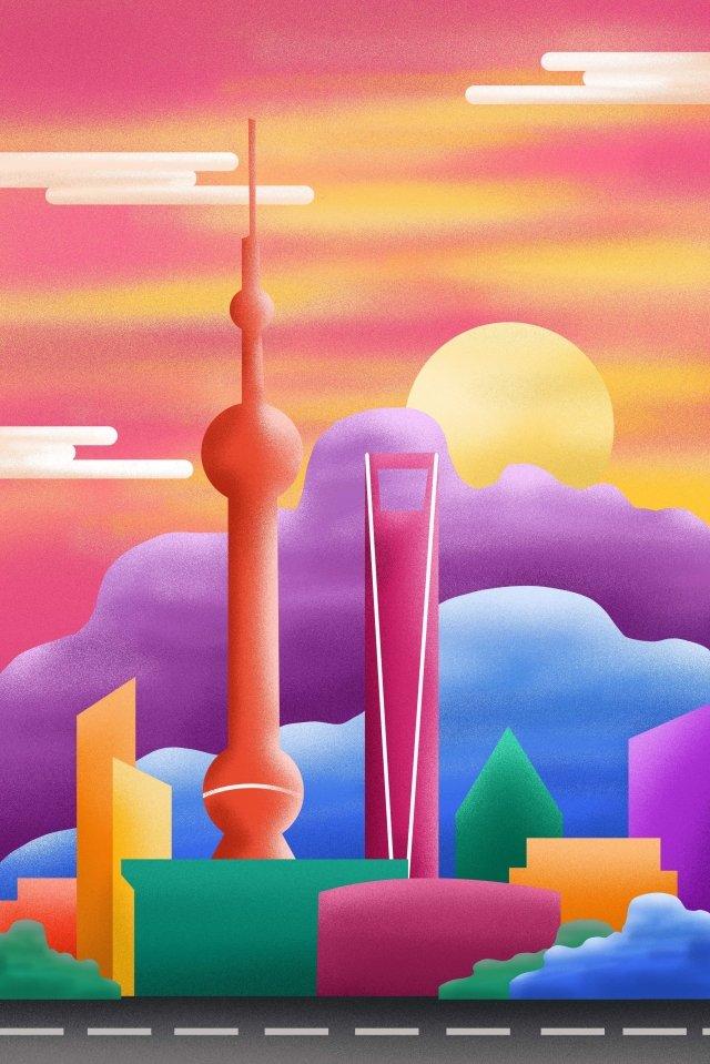 dusk city building landmark, Illustration, Shanghai, Beishangguangshen illustration image