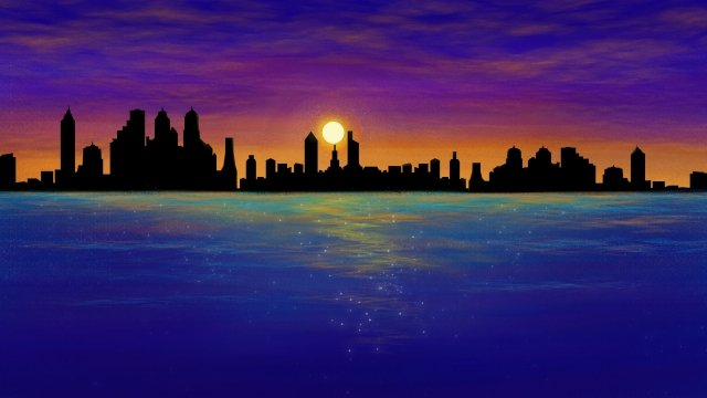 dusk city sea hand drawn illustration, Building, Ocean, Sky illustration image