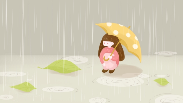 이른 봄 비가 우산 어린 소녀 삽화 소재 삽화 이미지