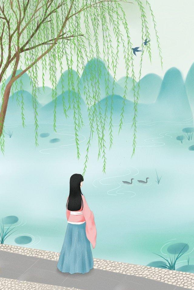 早春の柳芽早春の川岸 イラスト素材 イラスト画像