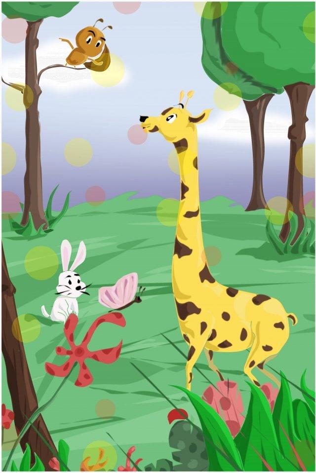 초여름 동물 햇빛 청소년 삽화 소재