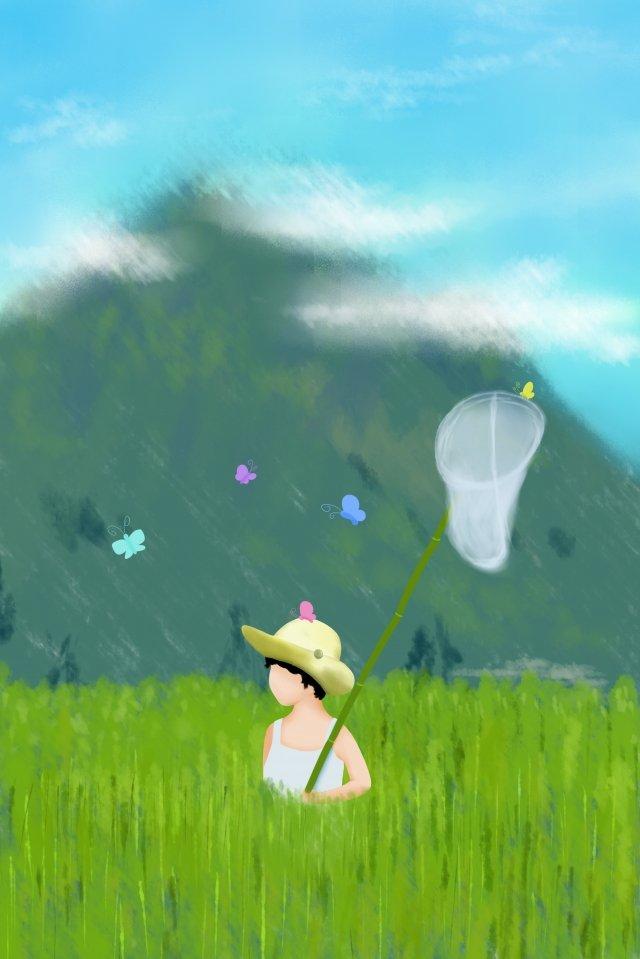 初夏綠色昆蟲網陽光燦爛的日子 插畫素材